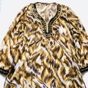 Adrienne Vittadini Animal Print Jeweled Tunic Top